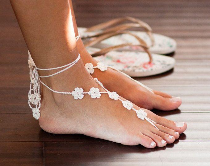 MCC de regalo blanco sandalias pies descalzos - sin pies sandalias - playa boda sandalias - pie descalzo joyería marfil boda descalzos sandalias-damas de honor