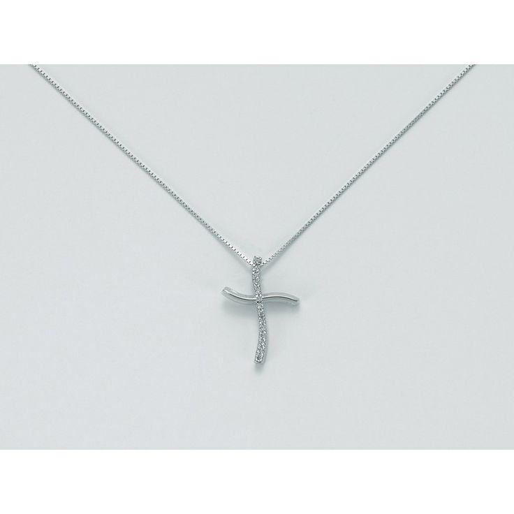 Collana girocollo con croce Miluna in oro bianco 18 carati e diamanti