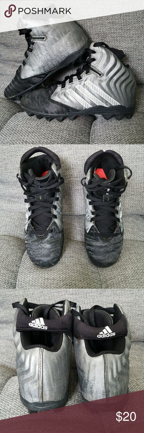 Adidas Youth Football Cleats Size 13 Black and silver Adidas Youth Filthyquick Mid football cleats. Size 13. Great condition with minimal wear. adidas Shoes