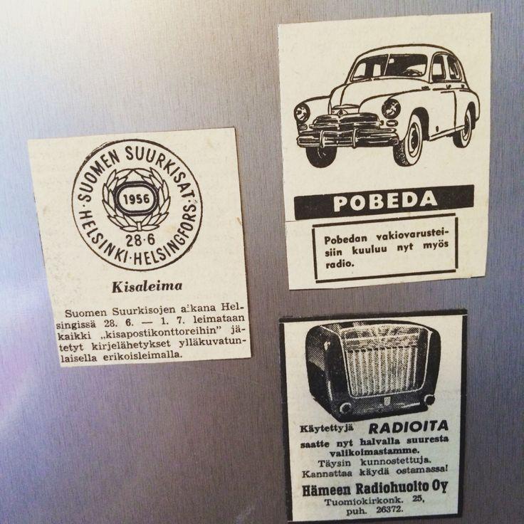 Magneetteja vanhoista sanomalehdistä 50-luvulta