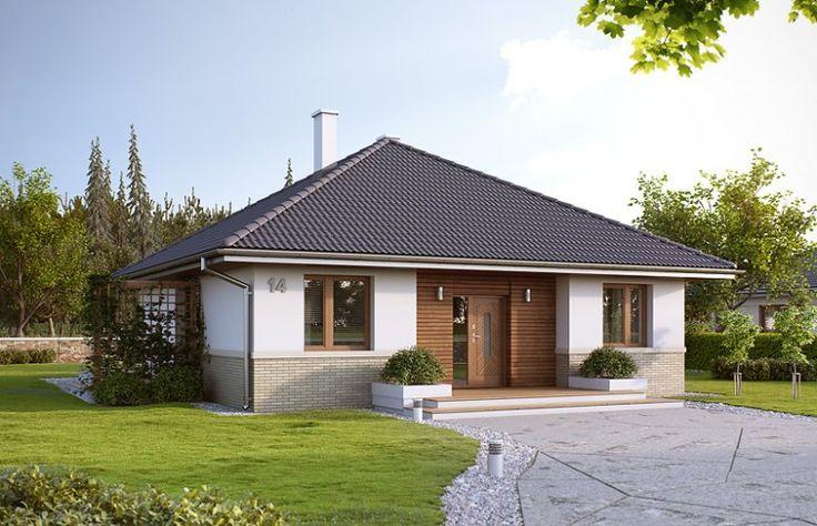 Niewielki, jednorodzinny dom parterowy, odpowiadający potrzebom 3 -4-osobowej rodziny. Optymalny układ pomieszczeń został podzielony na dwie strefy: dzienną - kuchnia i salon z jadalnią oraz nocną: dwie sypialnie i łazienka