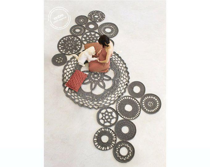 groß skalieren handgemachte modulare häkeln Teppich, ENTRE Sammlung - design N 051, geboren Januar 2016, von den Händen der ARTSPAZIOS