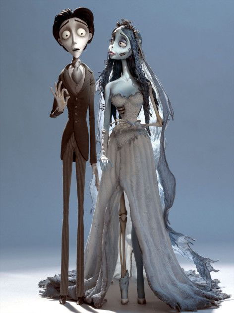 Johnny Depp as Victor Van Dort and Helena Bonham Carter as Corpse Bride 2005