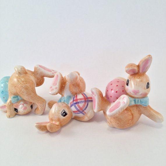 Fitz & Floyd ceramic easter bunny trio Rabbit by VeryUsVintage