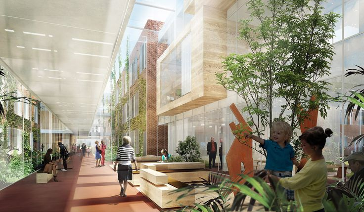 Nyt Psykiatrisk Center på DNU by aarhus arkitekterne #DNU #lobby #atrium #danisharchitecture #scandinavianarchitecture #psykiatri #healthcare #aarhusarkitekterne