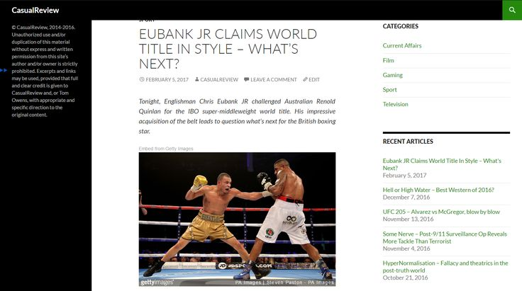 Englishman Chris Eubank JR challenged Australian Renold Quinlan for the IBO super-middleweight world title. His impressive acquisition of the belt leads to question what's next for the British boxing star.  Read more at: http://casualreview.co.uk/612-2/
