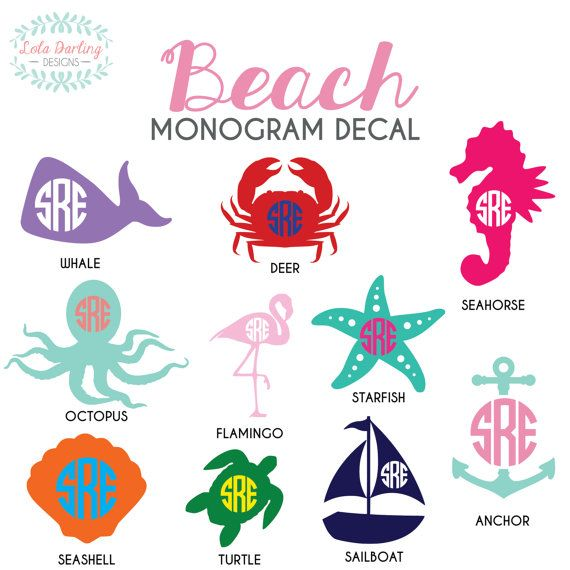 Beach Monogram Vinyl  Anchor Car Decal 26 by LolaDarlingDesigns