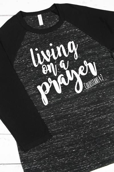 living on a prayer unisex 34 sleeve baseball t shirt black marbleblack 3200 - Baseball T Shirt Designs Ideas