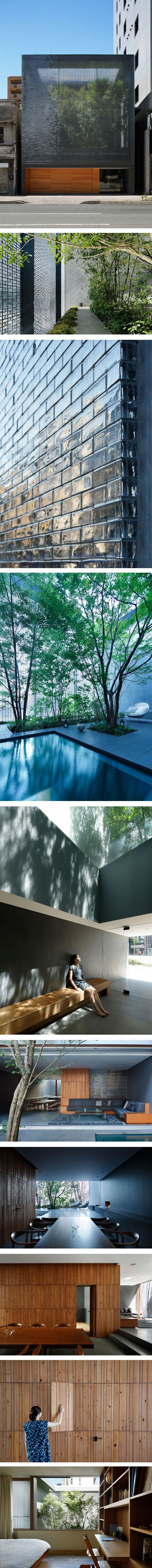 Stunning Glass House in Hiroshima - great combination of glass bricks and wood panelling.