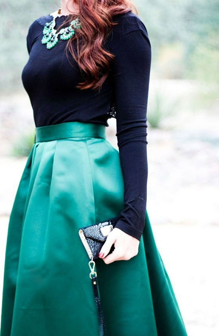 Love the fabric and color of the skirt! Combo's pretty great too, and the necklace...!