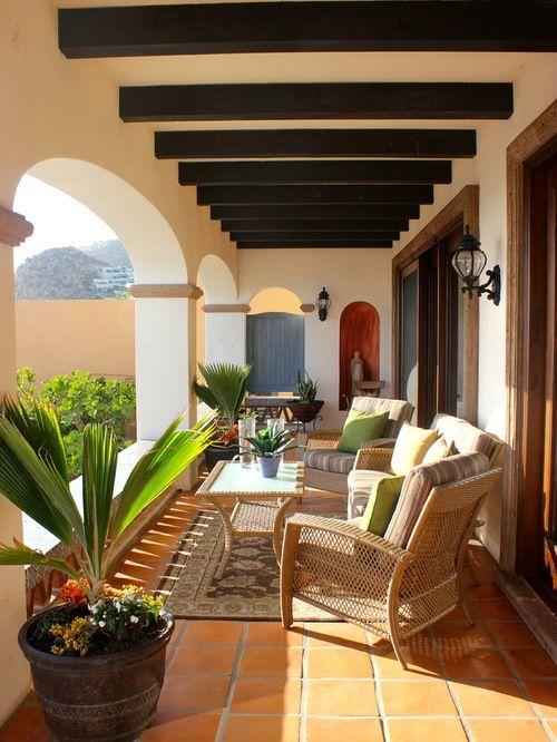 Mediterranean saltillo tiles entry home design photos for Mediterranean balcony ideas
