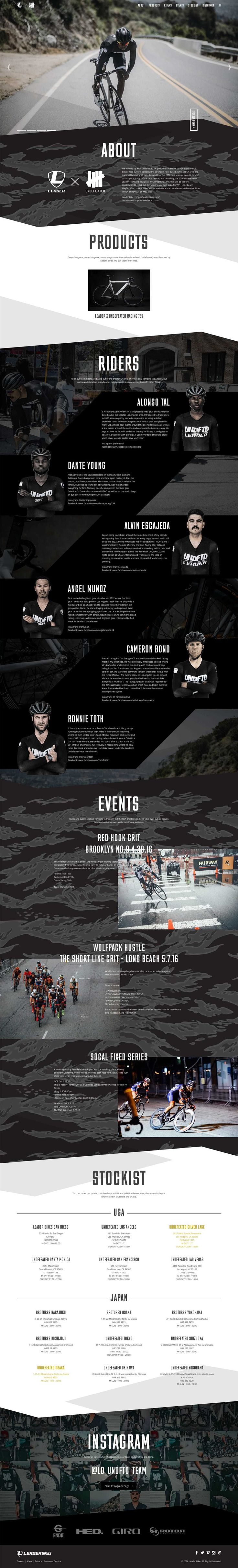"Long Scrolling One Pager promoting a racing team called ""Leader Bikes X Undefeated"". The Single Page site features a subtle parallax effect using the background shapes as well as a pretty bad-ass team section."