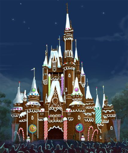 WHAT A GREAT PICTURE OF THE MAGIC KINGDOM CINDERELLA CASTLE AS A GINGERBREAD HOUSE | Hidden Mickey Guy