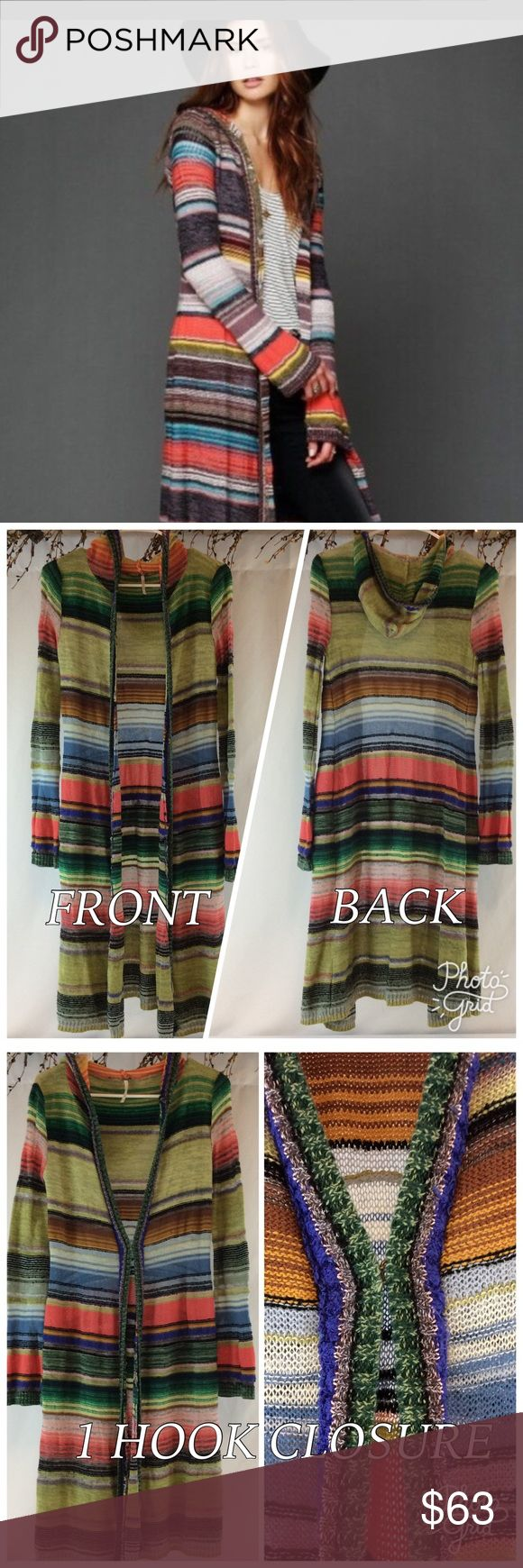 FREE PEOPLE STRIPED LONG SWEATER DUSTER GUC other than a few loose threads that can be fixed and I did sew a larger loose thread part (view 4th pic)! These issues are the reason for the low price! This beautiful duster still has a lot of life left! It's light weight and perfect for those cooler nights at the beach🌸 1st stock pic is for reference, mine is the same just different color! There ONE HOOK CLOSURE, material: 86% cotton/11% rayon/3% other fibers! Free People Sweaters