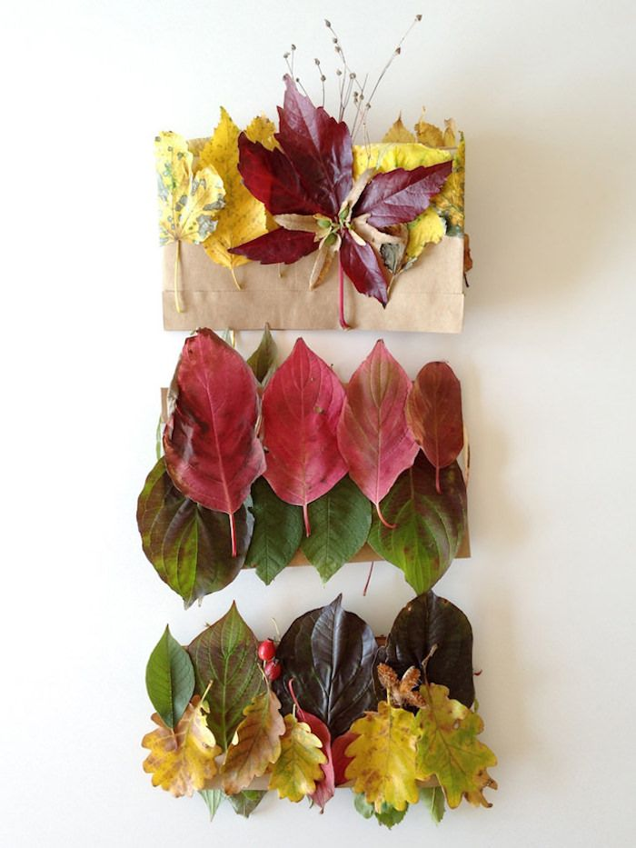 modele de couronne de feuilles d arbres mortes collées sur une bande de papier kraft, activité manuelle automne maternelle