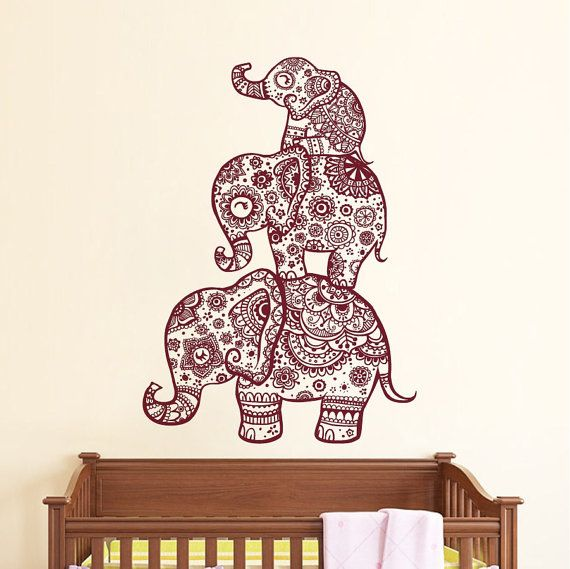 Elefante pared calcomanía familia etiquetas indio por BestDecals