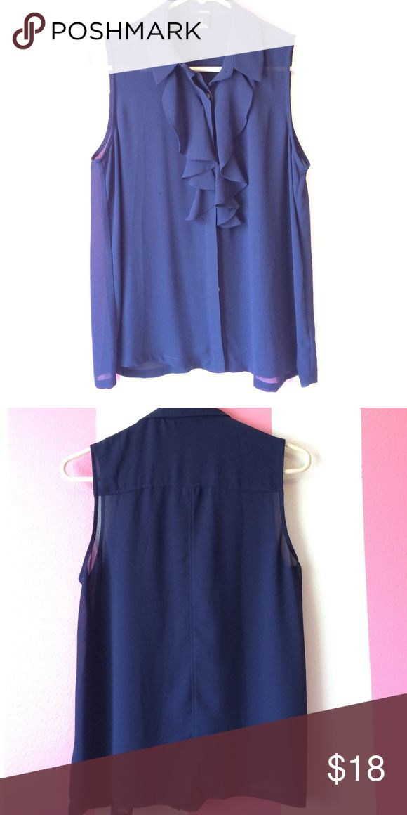 Navy blue blouse Never worn, from forever 21. Has golden buttons Forever 21 Tops Blouses