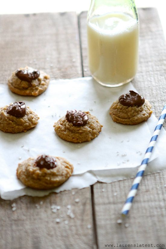 Salted Nutella Peanut Butter Thumbprint Cookies from Lauren's Latest