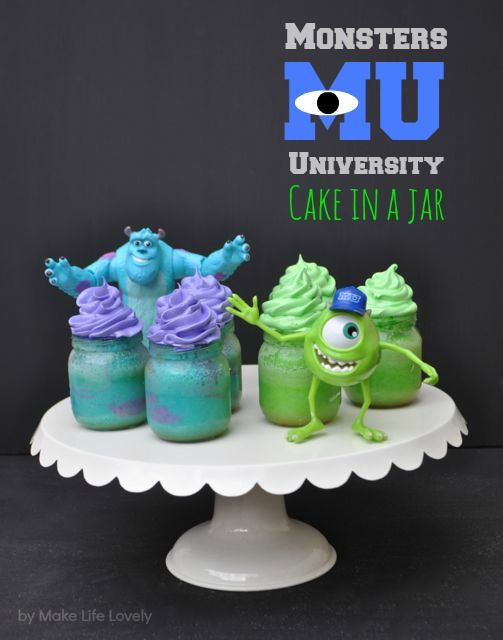 SO CUTE! How to make Monsters University Cakes in a Jar. Step by step tutorial by Making LIfe Lovely. #shop #disney #desserts
