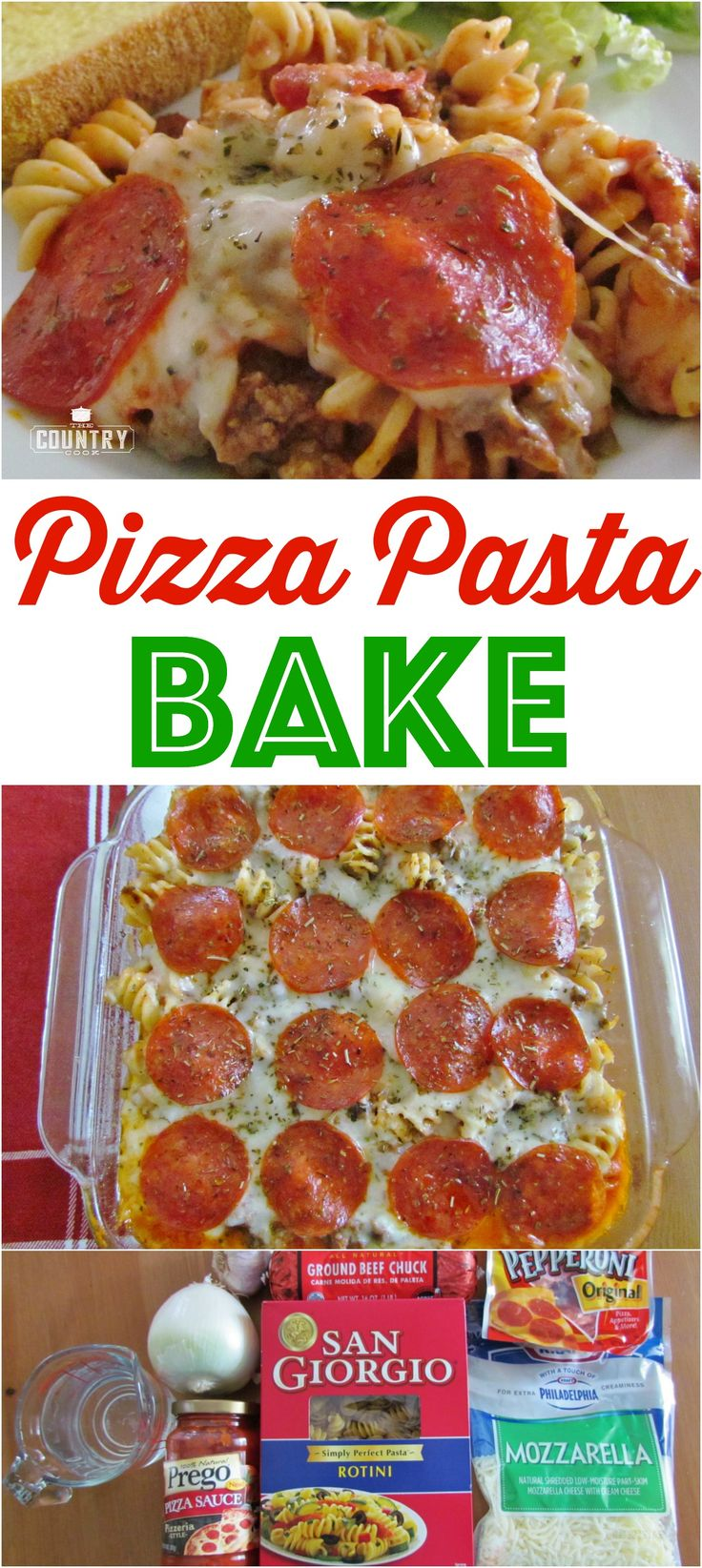 Pizza Pasta Bake recipe from The Country Cook