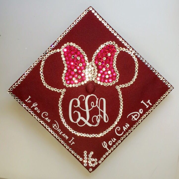Disney Minnie Mouse graduation cap with rhinestones and initials