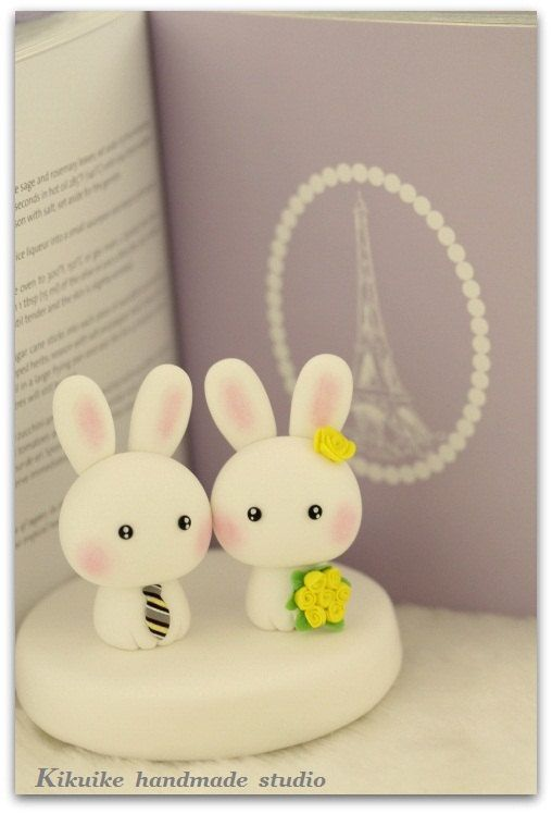 LOVE  rabbit and bunny  Wedding Cake Topper by kikuike on Etsy, $100.00