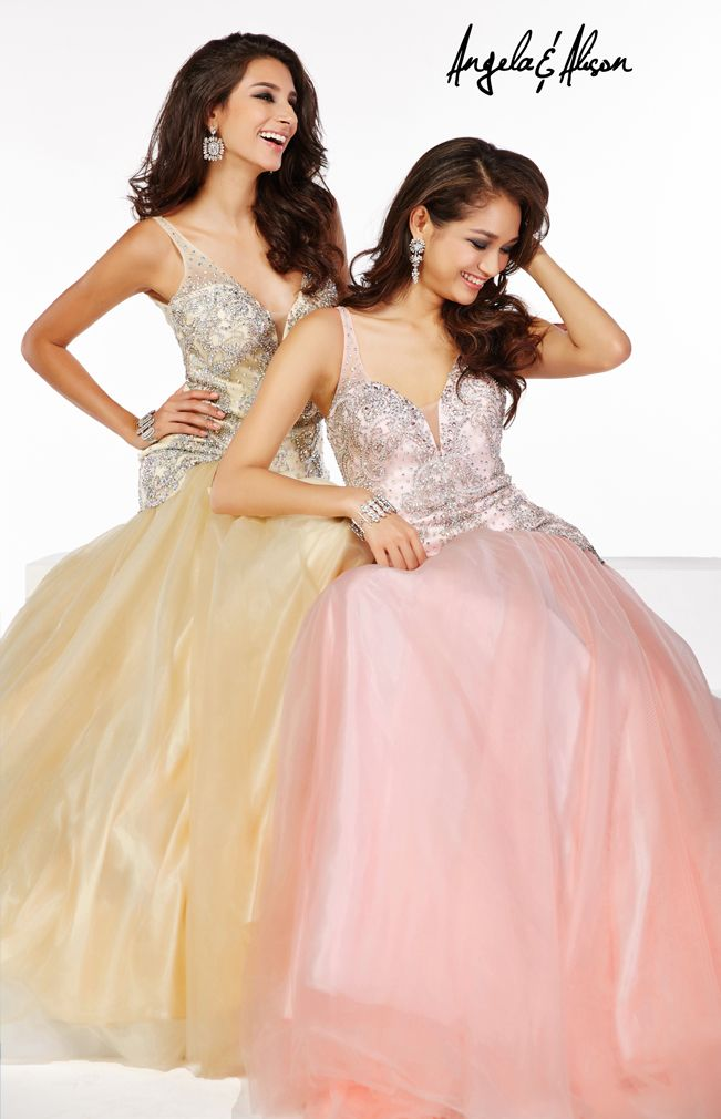 Style 51019   Princess style dress comes in pink, butter cream and turquoise.