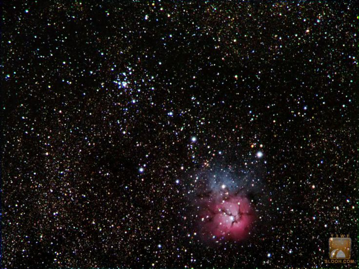 Trifid Nebula (M20) with open cluster M21 in the Constellation of Sagittarius through the Wide field Refractor
