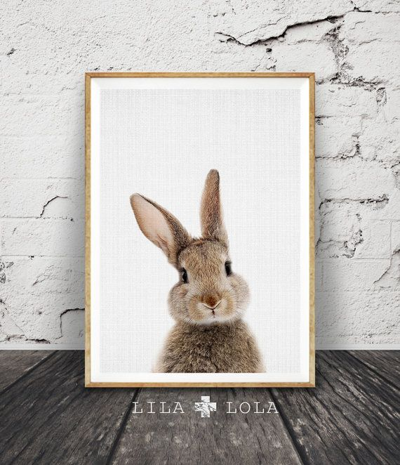 Rabbit Print Nursery Wall Art Woodlands Nursery Decor by LILAxLOLA