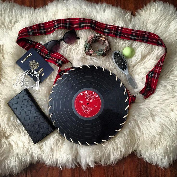 The plaid vinyl record bag