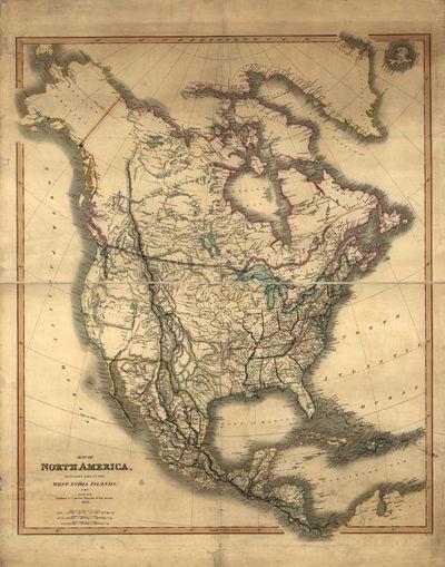 North America, 1849, United States, Canada, Mexico, Cuba ...