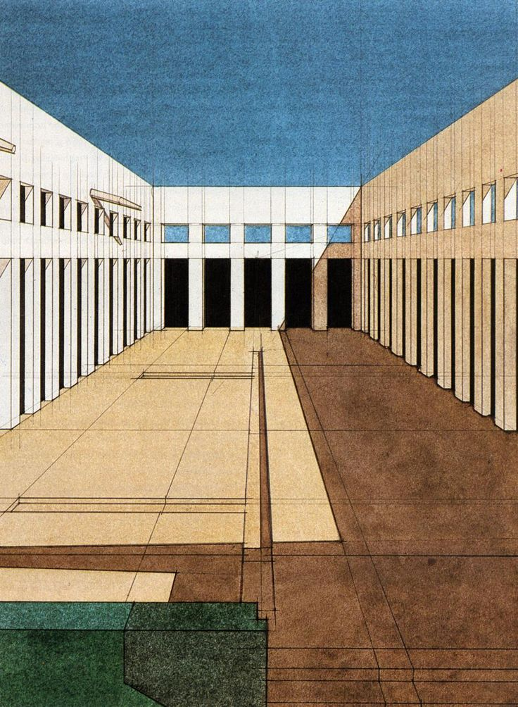 """I really like this 1969 Giorgio Grassi rendering. Imagining it suddenly populated by de Chirico figures"""