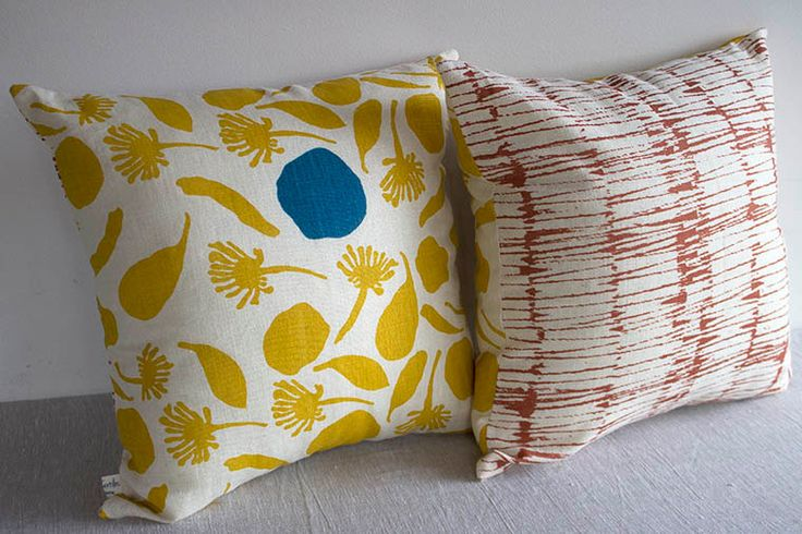 Hemp hand screen printed cushion cover 45cm x 45cm by FemkeTextiles on Etsy