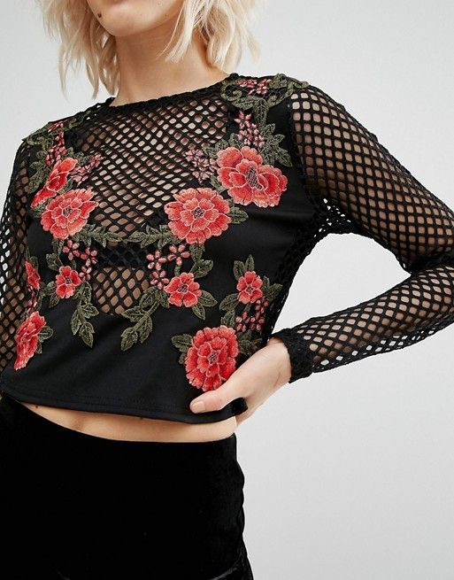 River Island | River Island Rose Embroidered Mesh Top                                                                                                                                                                                 More