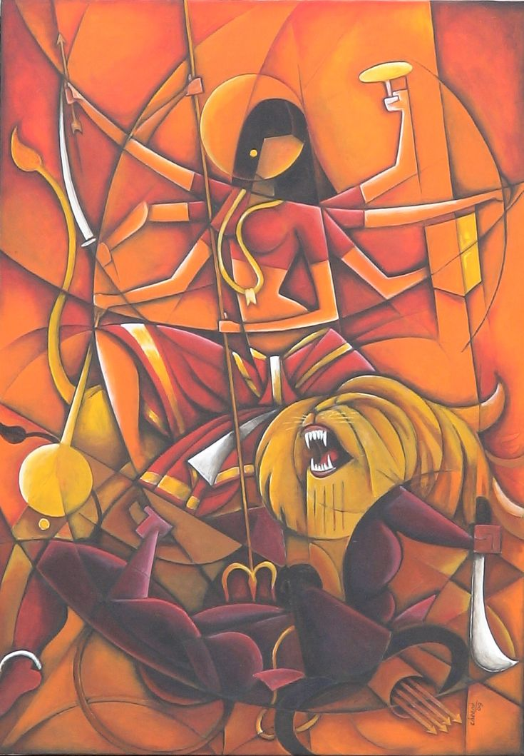 "brahmaanda:""Triumph"" by self-taught artist Cheenu Pillai, depicting the slaying of the demon Mahishasura by Goddess Durga"