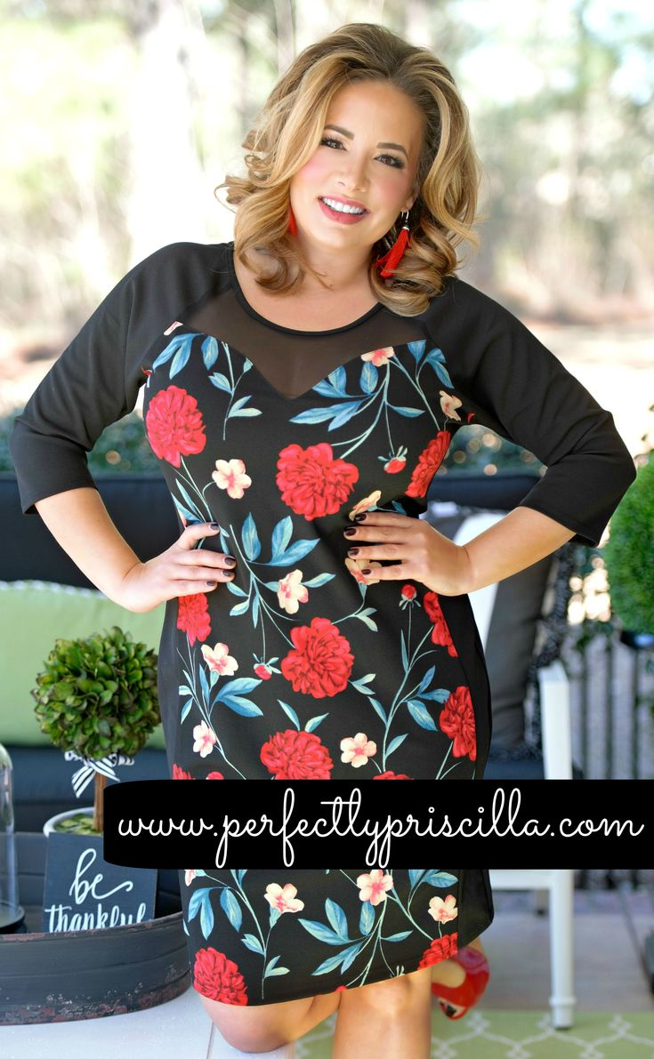 This bodycon dress features a beautiful bright floral print along the front bodice and the black mesh material outside of the print creates a sweetheart outline and gives the illusion of that hour glass shape that everyone wants! #floral #bodycondress #plussizefashion #plussizedress