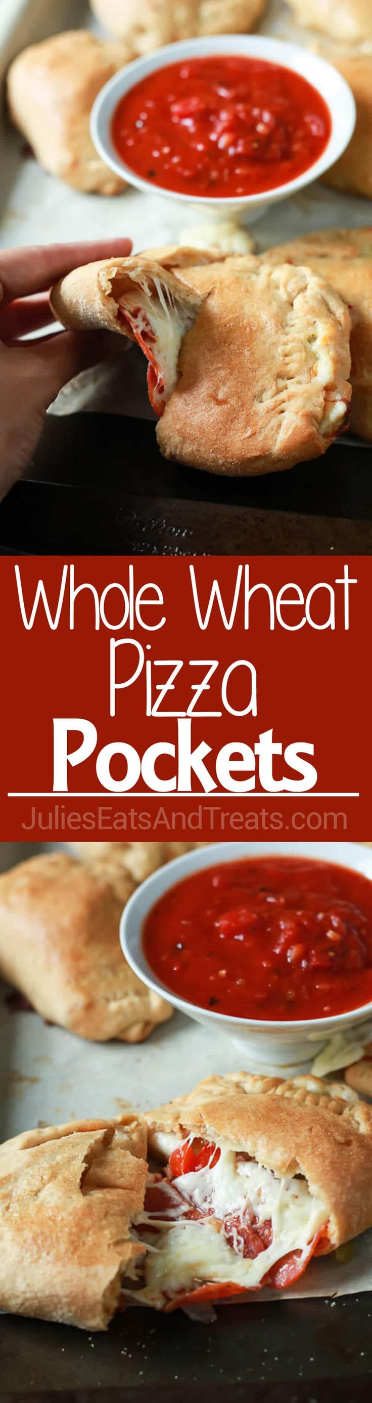 Easy Whole Wheat Pizza Pockets perfect for a quick weeknight meal and can be customized any way you like! via @julieseats