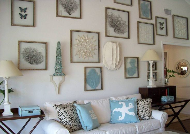 Beach Themed Living Room Ideas With Wall Arts And White Sofa Adorable Decorations For House Inspired