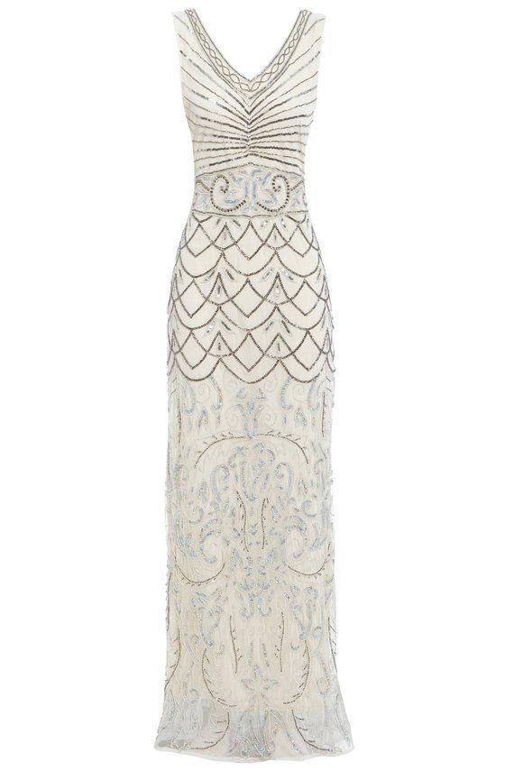 ebf0225d9ae Eva Off White Beaded Flapper, 1920s Great Gatsby Inspired, Art Deco ...