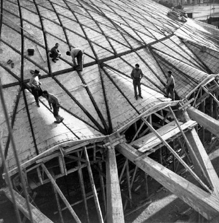 Pier Luigi Nervi, Palazzetto dello Sport under construction, Rome, Italy. #pierluiginervi #rome #underconstruction