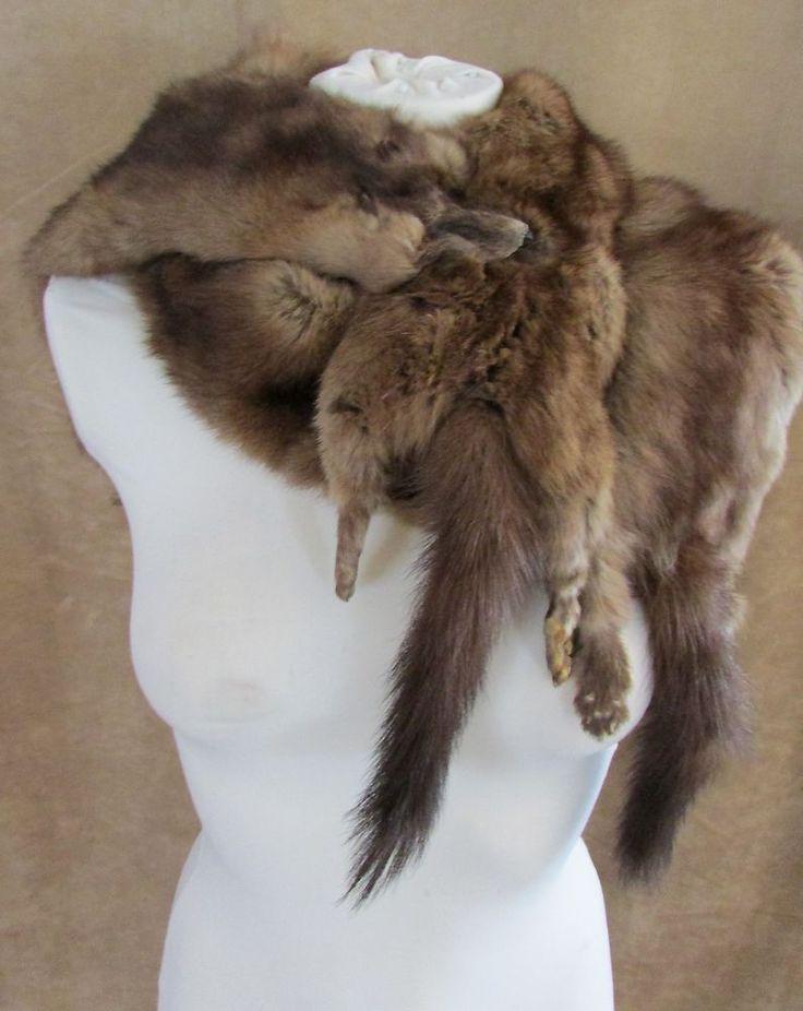 Mink Stole 3 Full pelt Body fur women shawl brown wrap coat vintage head feet #Unbranded #wrap