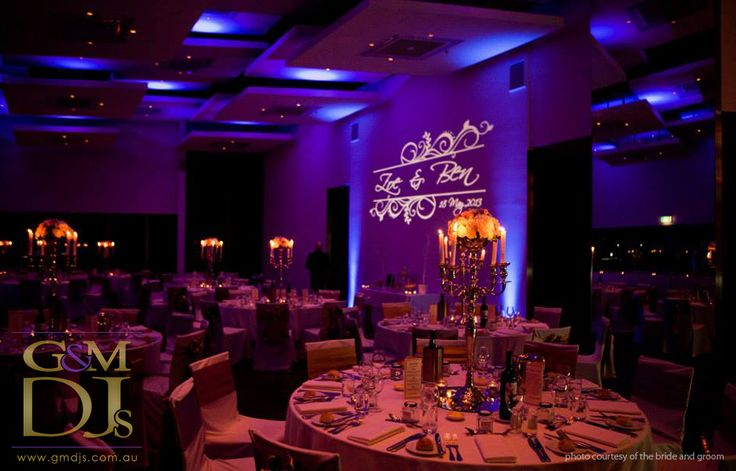 Purple wedding lighting with monogram design at Moda Events | G&M DJs | Magnifique Weddings #gmdjs #magnifiqueweddings #weddinglighting #weddingdjbrisbane #modawedding #modaevents @gmdjs @modaeventsvenue