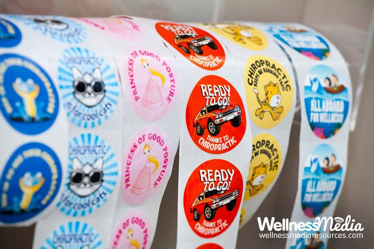 Chiropractic kids stickers proudly displayed inside a chiropractic office
