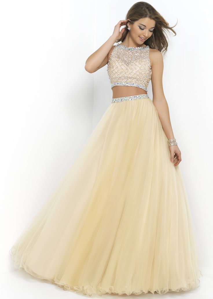 Blush 5400 - Sand Beaded Two Piece Prom Dress - RissyRoos.com