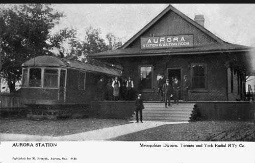 Railway stations in Aurora Ontario. Toronto Radial and York Railway, Metropolitan Division, 1909.