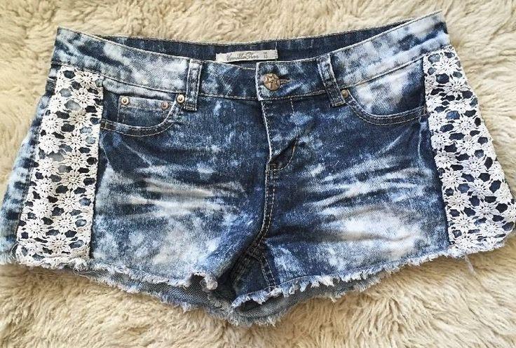 Sz 15 Juniors Vanilla Star Denim W/Crochet Lace Frayed Shorts Acid Wash  | eBay