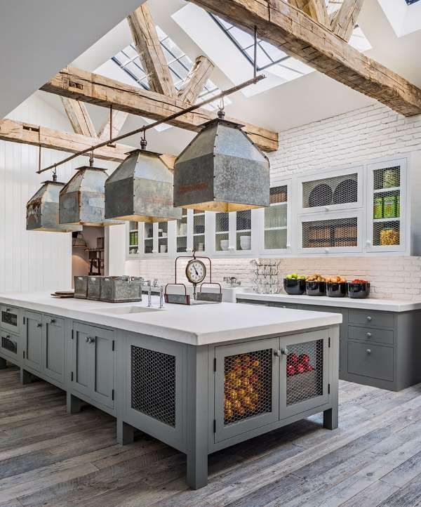 Large Farmhouse Kitchen With Gray Cabinets And Modern Industrial Pendant Lights Farmhouse Kitchen Ideas