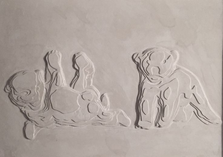 'Bear cubs' rendered in plaster by Nicolai Vittrup