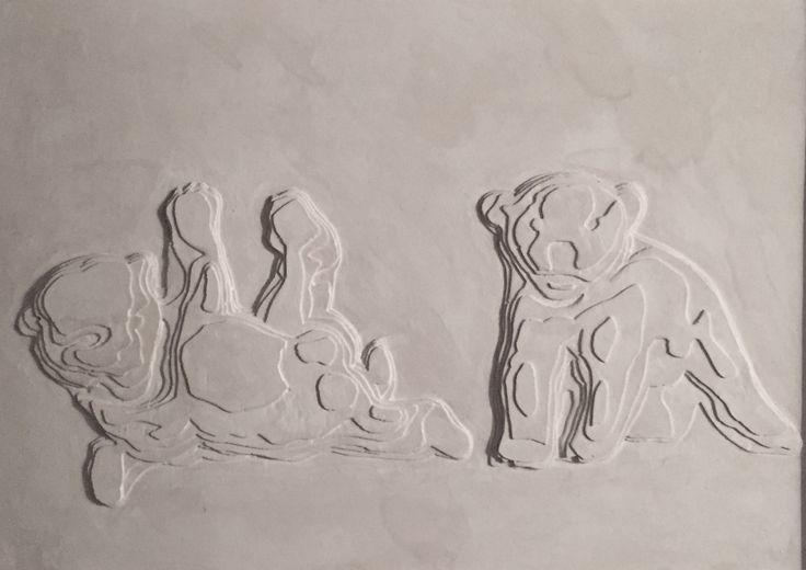 'Bear cubs' rendered in plaster by Nicolai Vittrup