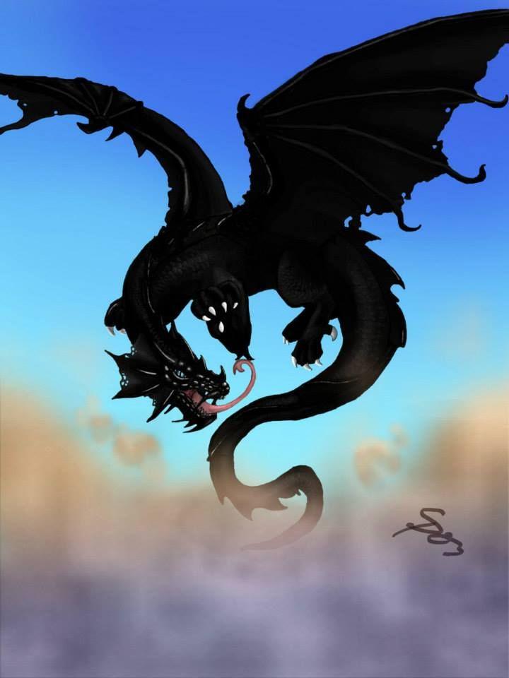 Получением, открытка с черным драконом